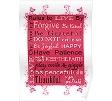 Rules to Live By - Pink Poster