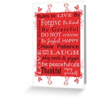 Rules to Live By Greeting Card