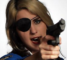 Blond with Patch and Pistol by photobylorne