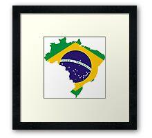Brazil Flag Map Framed Print