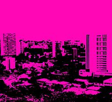 Honolulu Hawaii pink black style print by artisticattitud