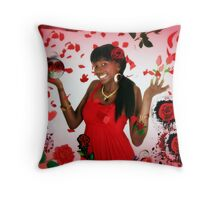 Only Red Roses Please! (Collage) Throw Pillow
