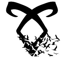 Black Angelic Rune (Birds)  Photographic Print