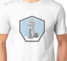 Cleaner Janitor Mopping Floor Retro Shield Unisex T-Shirt