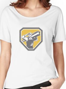 Construction Steel Worker Carrying I-Beam Retro Women's Relaxed Fit T-Shirt