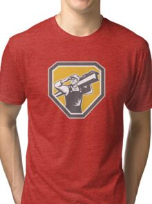 Construction Steel Worker Carrying I-Beam Retro Tri-blend T-Shirt
