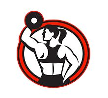 Female Lifting Dumbbell Fitness Side Circle by patrimonio