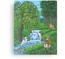 Waterfall and weeping willow. Canvas Print