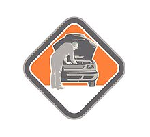 Automotive Mechanic Car Repair Woodcut by patrimonio
