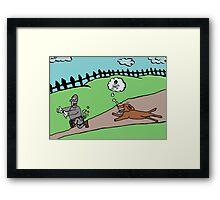 thief runs away from ferocious dog Framed Print