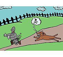 thief runs away from ferocious dog Photographic Print