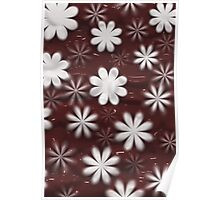 Melted Chocolate and Milk Flowers Pattern Poster
