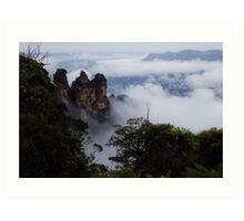Blue Mountains - Three Sisters in the Clouds Art Print