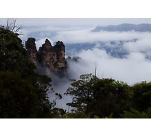 Blue Mountains - Three Sisters in the Clouds Photographic Print