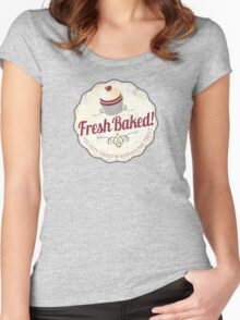 red velvet cupcake badge vintage grunge Women's Fitted Scoop T-Shirt