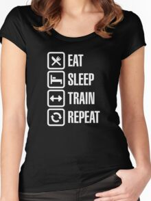 Eat sleep train repeat Women's Fitted Scoop T-Shirt
