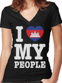 I Heart (Love) My Khmer People Women's Fitted V-Neck T-Shirt