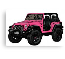 Pink two door Jeep wrangler Canvas Print