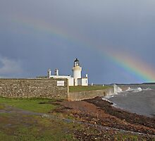 Chanonry Lighthouse with Boat by Sandy Sutherland