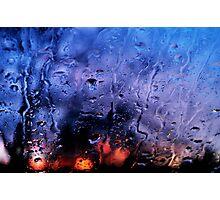 Rain, glass, color Photographic Print