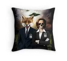 Fox and Skully Throw Pillow