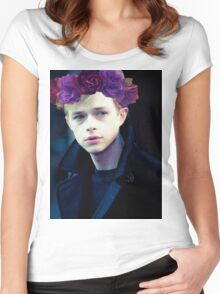 Dane DeHaan and his flower crown Women's Fitted Scoop T-Shirt