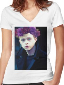 Dane DeHaan and his flower crown Women's Fitted V-Neck T-Shirt