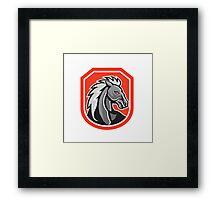 Horse Head Shield Retro Framed Print