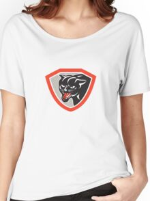 Black Cat Panther Head Shield Women's Relaxed Fit T-Shirt