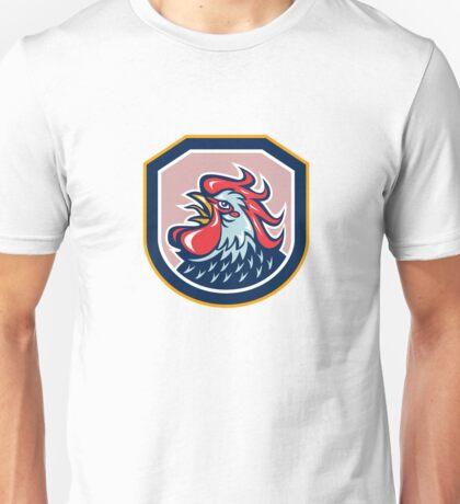 Rooster Cockerel Crowing Shield Retro Unisex T-Shirt