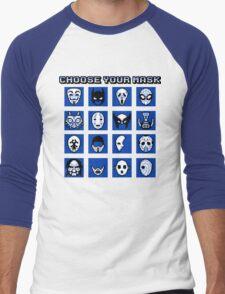 Choose Your Mask (Blue) Men's Baseball ¾ T-Shirt