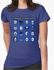 Choose Your Mask (Blue) Womens Fitted T-Shirt