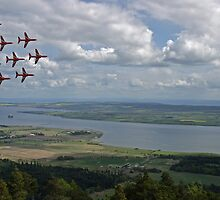 Red Arrows, Cromarty Firth by Sandy Sutherland