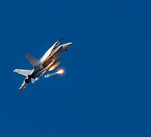 FA-18 Hornet Deploying A Flare. by Nuttee Ratanapiseth