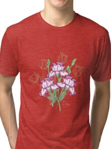 White Blue Irises and Tulips Tri-blend T-Shirt