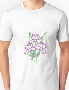 White Blue Irises and Tulips T-Shirt