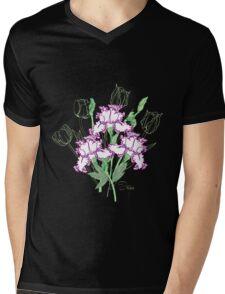 White Blue Irises and Tulips Mens V-Neck T-Shirt