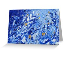 Blue Abstract Flower Painting Wall Decor by Ekaterina Chernova Greeting Card