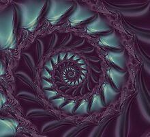 Purple & Aqua Spiral Fractal by Kitty Bitty