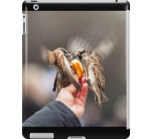 feeding sparrows iPad Case/Skin
