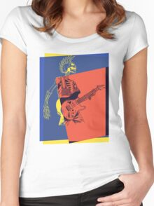Pop Art Skeleton Guitar 3 Women's Fitted Scoop T-Shirt