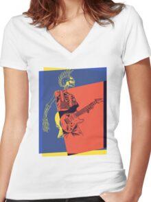 Pop Art Skeleton Guitar 3 Women's Fitted V-Neck T-Shirt
