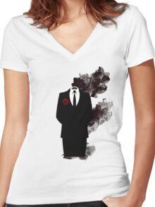 Black smoke  Women's Fitted V-Neck T-Shirt