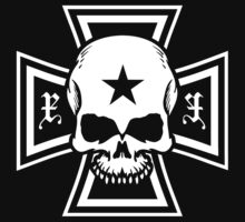 Biker Style Skull and Iron Cross T-Shirt by TropicalToad