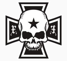 Biker Style Skull and Iron Cross Vinyl Sticker by TropicalToad