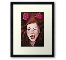 Wink girl Framed Print