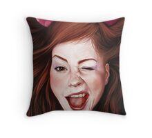 Wink girl Throw Pillow