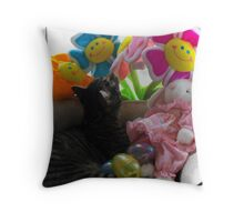Kitty Easter Basket Throw Pillow