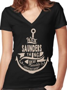 It's a SAUNDERS shirt Women's Fitted V-Neck T-Shirt