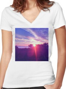 Cocoa Sunrise Women's Fitted V-Neck T-Shirt